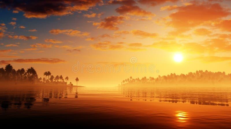 Environnement tropical épique de coucher du soleil illustration de vecteur