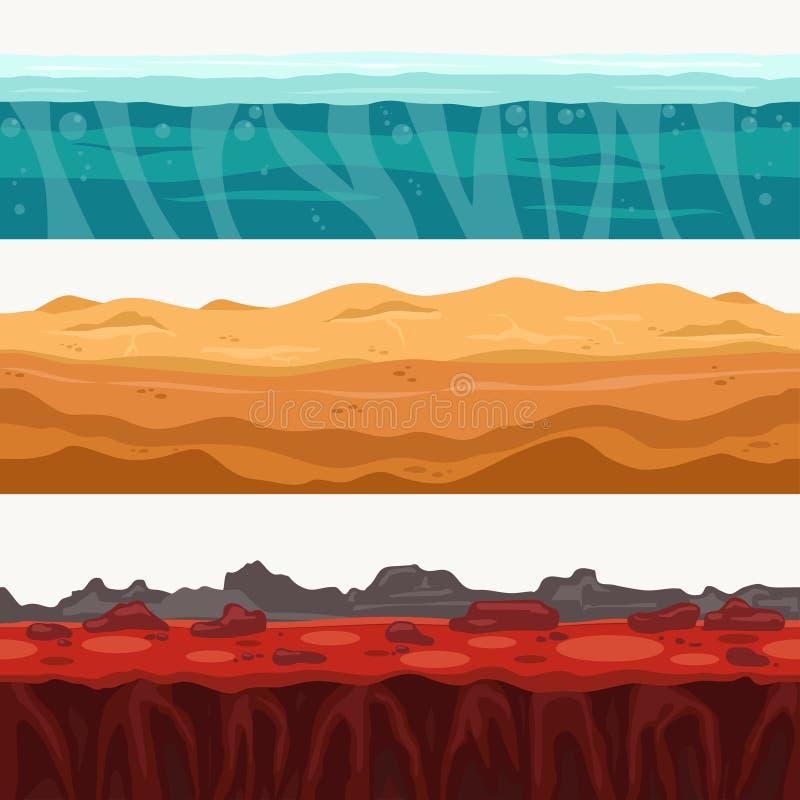 Environs sans couture de couches de sol avec la pierre de roche Surface de l'eau, lave volcanique, sable de désert Vecteur illustration stock