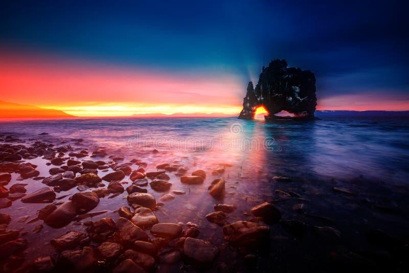 Environs scéniques après la marée dans le crépuscule Endroit Hvits d'emplacement images stock