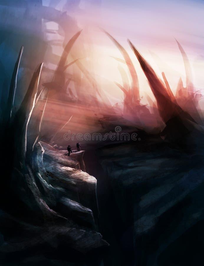 Environtment del paesaggio del pianeta di fantascienza royalty illustrazione gratis