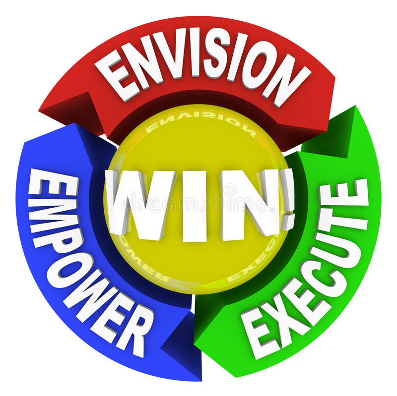 Envision Empower Execute - Win stock illustration