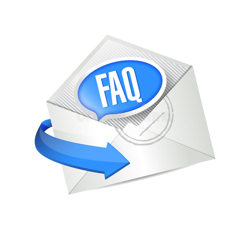 Envoi d'un courrier de FAQ. conception d'illustration illustration libre de droits