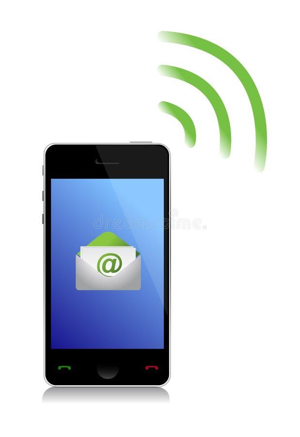 Envoi d'un téléphone de l'email cel illustration de vecteur