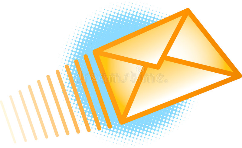 Envoi de l'enveloppe d'email illustration libre de droits