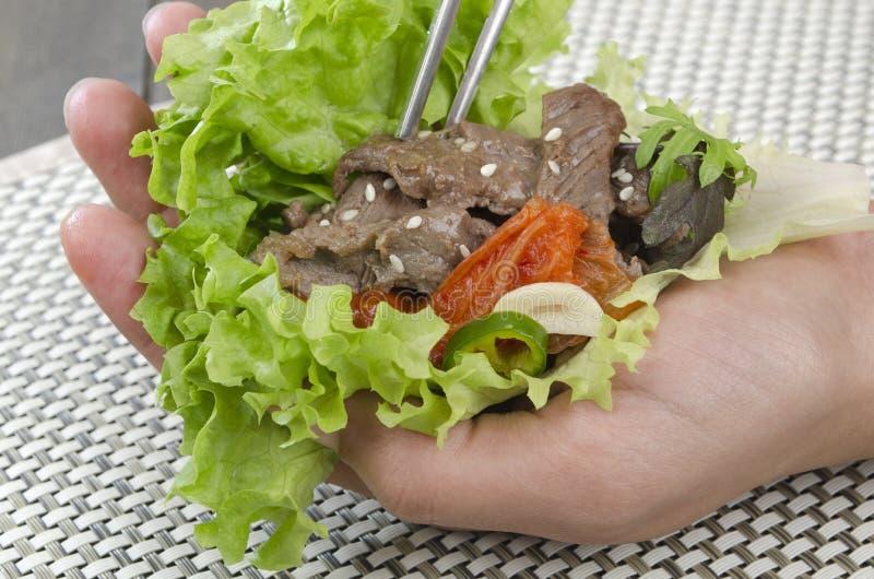 Envoltório de Bulgogi da carne fotos de stock