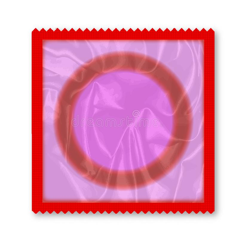 Envoltório do preservativo sobre o branco ilustração royalty free