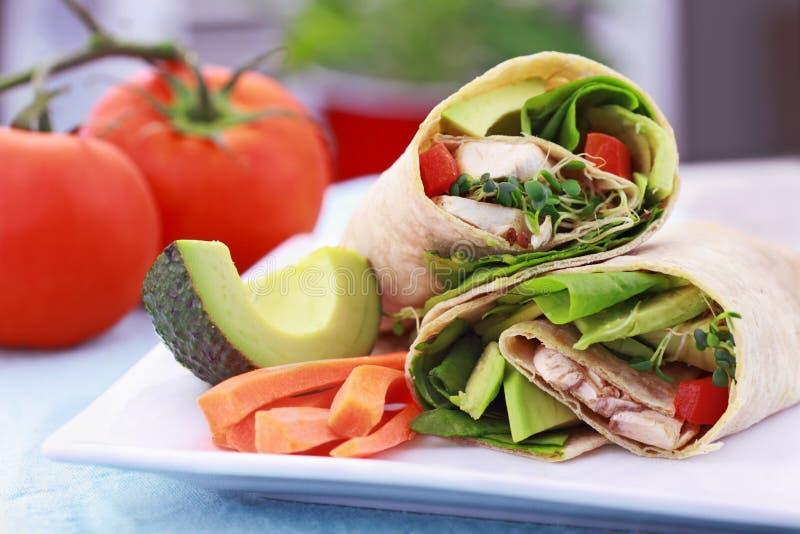 Envoltório do sanduíche do vegetariano fotografia de stock