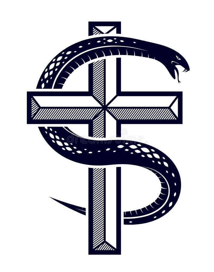 Envoltórios da serpente em torno da cruz cristã, o esforço entre bens e o mal, Saint e pecador, amor e ódio, vida e morte simbóli ilustração stock