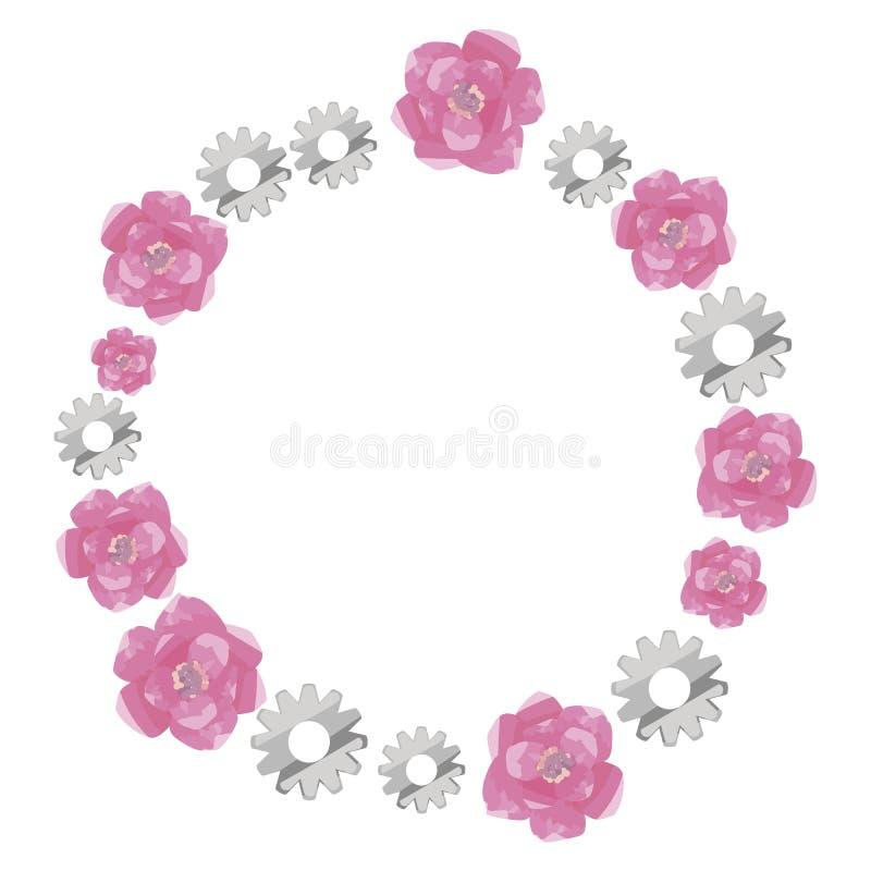 Envolva em volta da beira de rosas cor-de-rosa da aquarela e das engrenagens brilhantes metálicas cinzentas isoladas no vetor bra ilustração stock