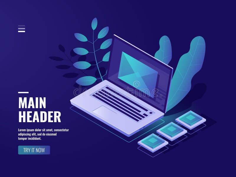 Envolva na tela um portátil, conceito do feedback, mensagem entrante, email da notificação, sala do mail server, em linha ilustração royalty free