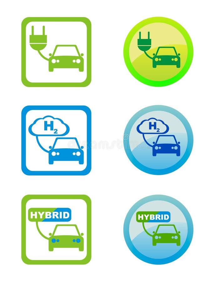 envonmental содружественные иконы топлива стоковые изображения