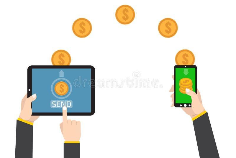 Envoyant et recevant l'argent Envoyez la radio d'argent illustration stock
