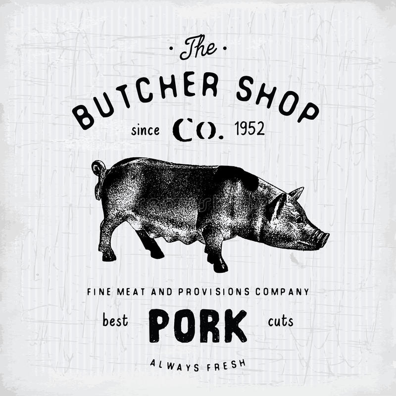Envoyez à la boucherie les produits carnés de porc d'emblème de vintage de Shop, style de calibre de logo de boucherie rétro Conc illustration stock