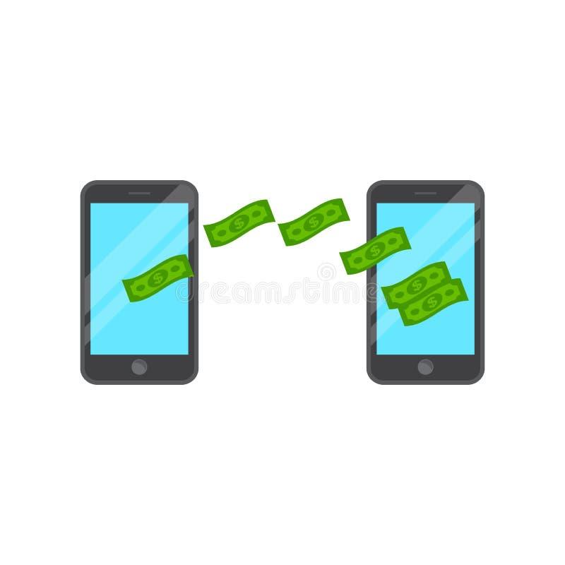 Envoyez et recevez l'argent, transfert d'argent à partir de téléphone intelligent illustration de vecteur