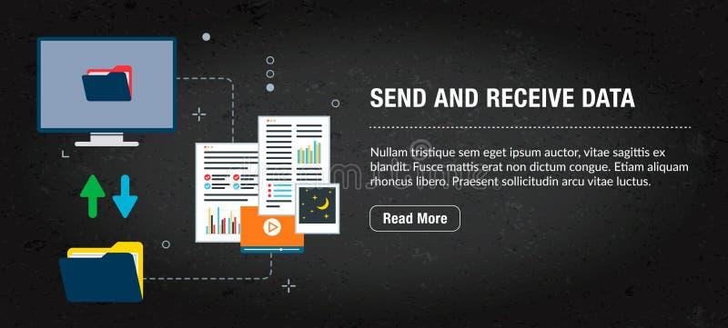 Envoyez et recevez les données, Internet de bannière avec des icônes dans le vecteur illustration libre de droits