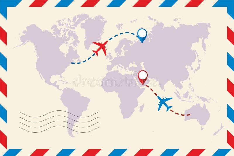 Envoyez l'enveloppe par avion L'avion et sa voie sur la carte du monde Voyage au monde Avion tir? par la main et sa voie sur la c illustration libre de droits