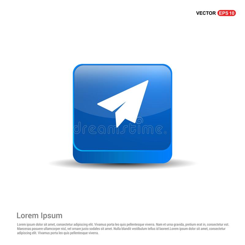 Envoyez l'icône - bouton du bleu 3d illustration de vecteur