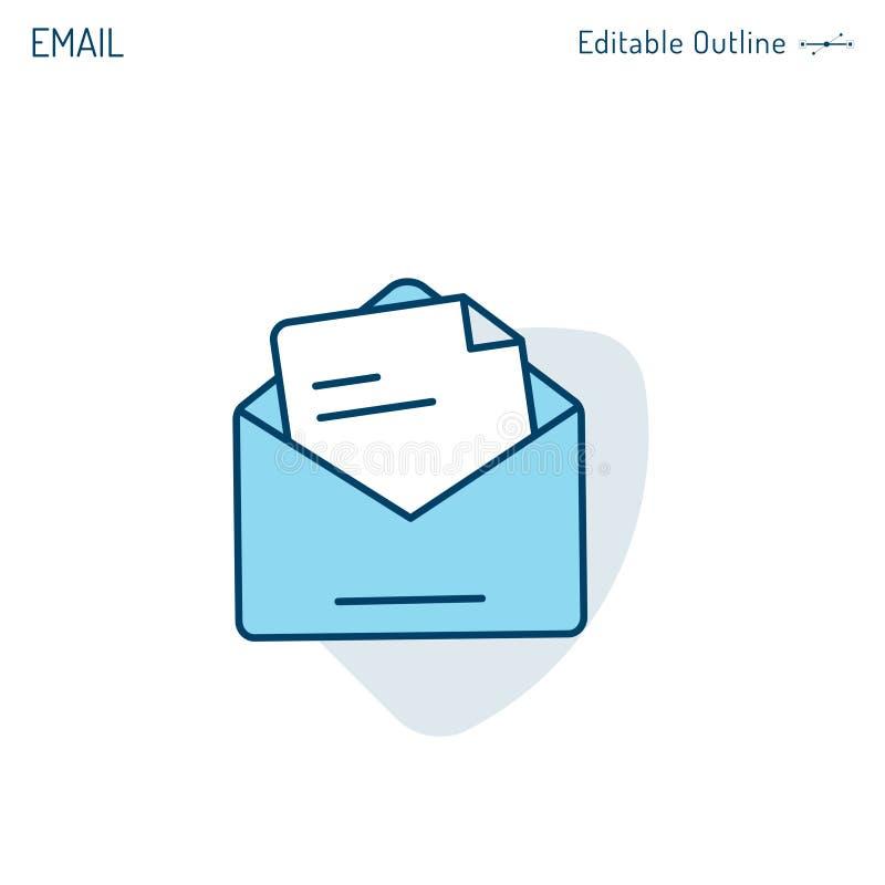 Envoyez l'icône, icône de boîte de réception, contactez-nous, écrivez-nous, recevez le message, vente d'email, course Editab illustration de vecteur