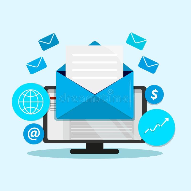 Envoyez la campagne de marketing, vente de bulletin d'information, vente d'égouttement, email lançant le concept sur le marché pl illustration stock