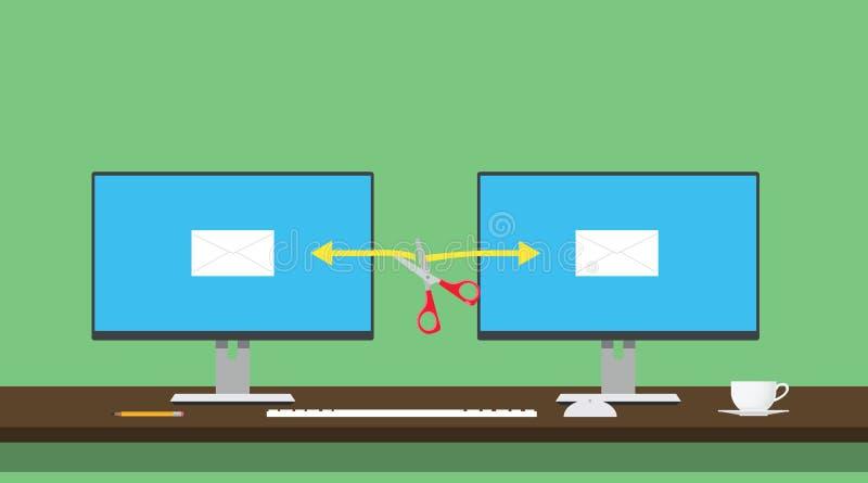 Envoyez le transfert des données d'ordinateur de l'illustration deux de détournement détourné entaillé illustration libre de droits