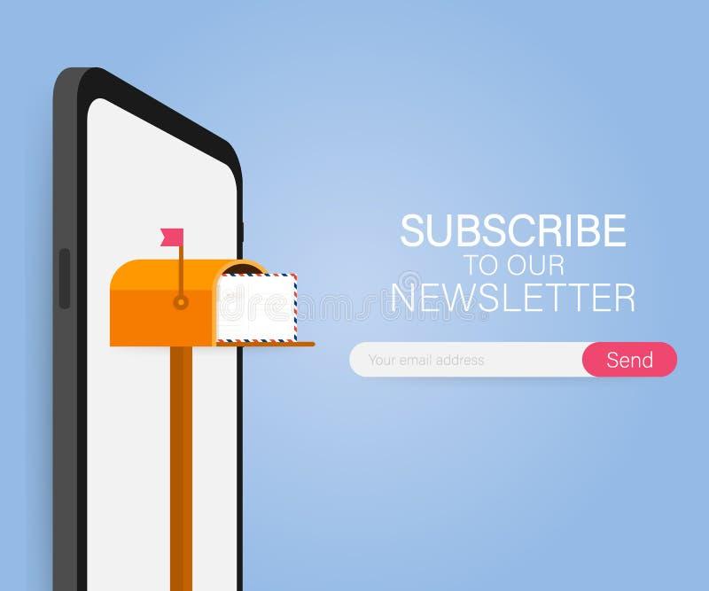 Envoyez souscrivent, calibre en ligne de vecteur de bulletin d'information avec la boîte aux lettres et soumettent le bouton Illu illustration libre de droits