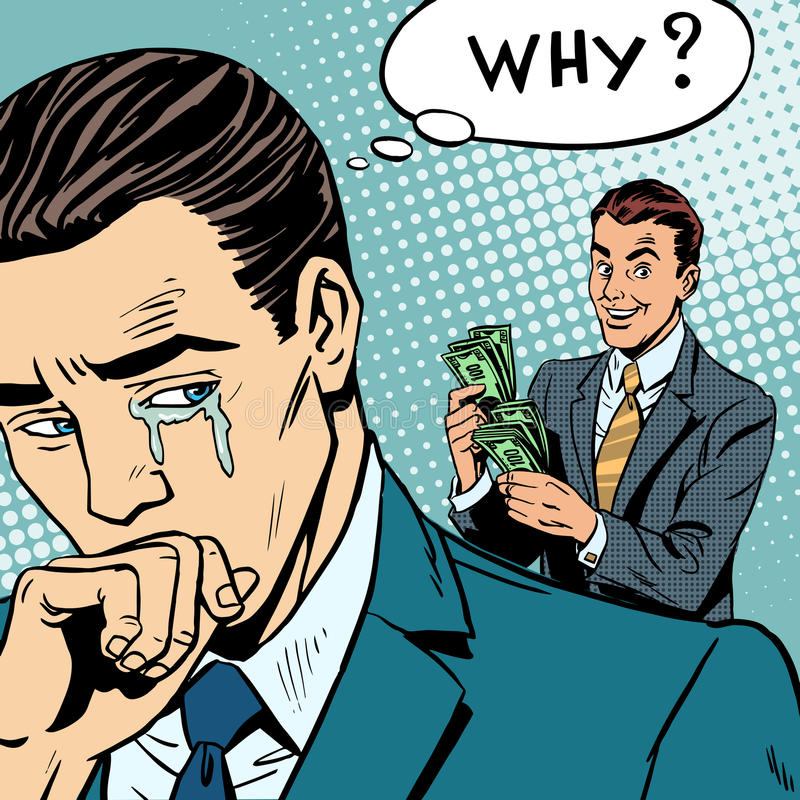 Envy competition man crying competitor earned more stock illustration