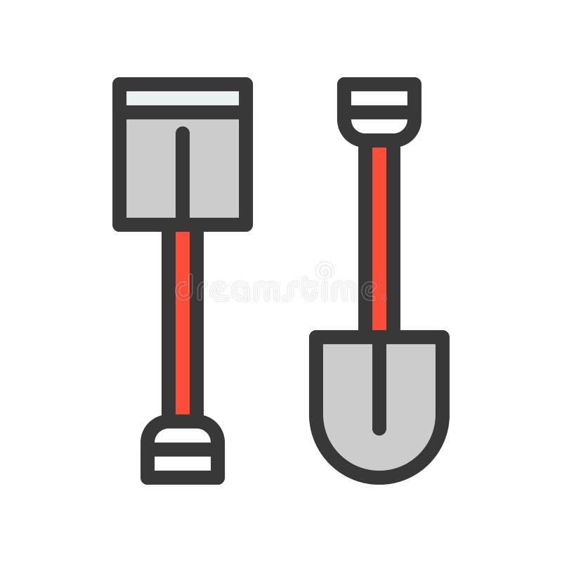 Enxada e pá, ícone enchido do esboço, ferramenta do trabalhador manual e grupo do equipamento ilustração stock