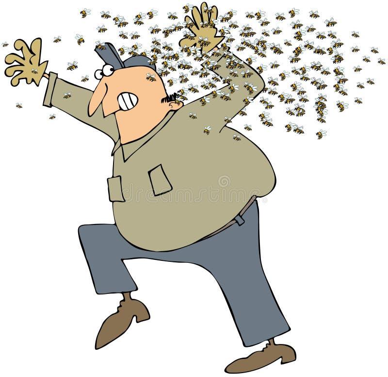 Enxame da abelha ilustração do vetor