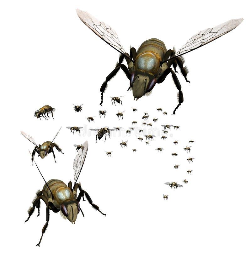 Enxame das abelhas ilustração stock