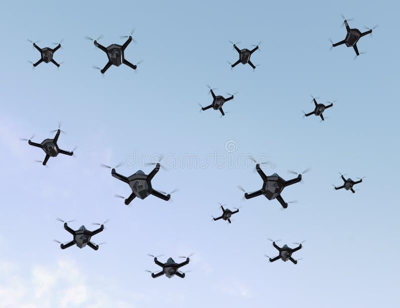 Enxame de zangões da segurança com voo da câmara de vigilância no céu ilustração royalty free