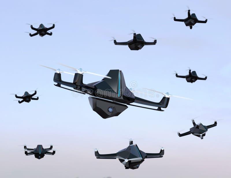 Enxame de zangões da segurança com voo da câmara de vigilância no céu ilustração do vetor