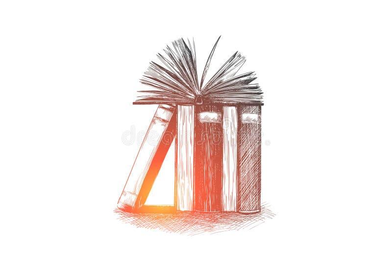 Enzyklopädie, Bibliothek, Bildung, las, bucht Konzept Hand gezeichneter lokalisierter Vektor stock abbildung