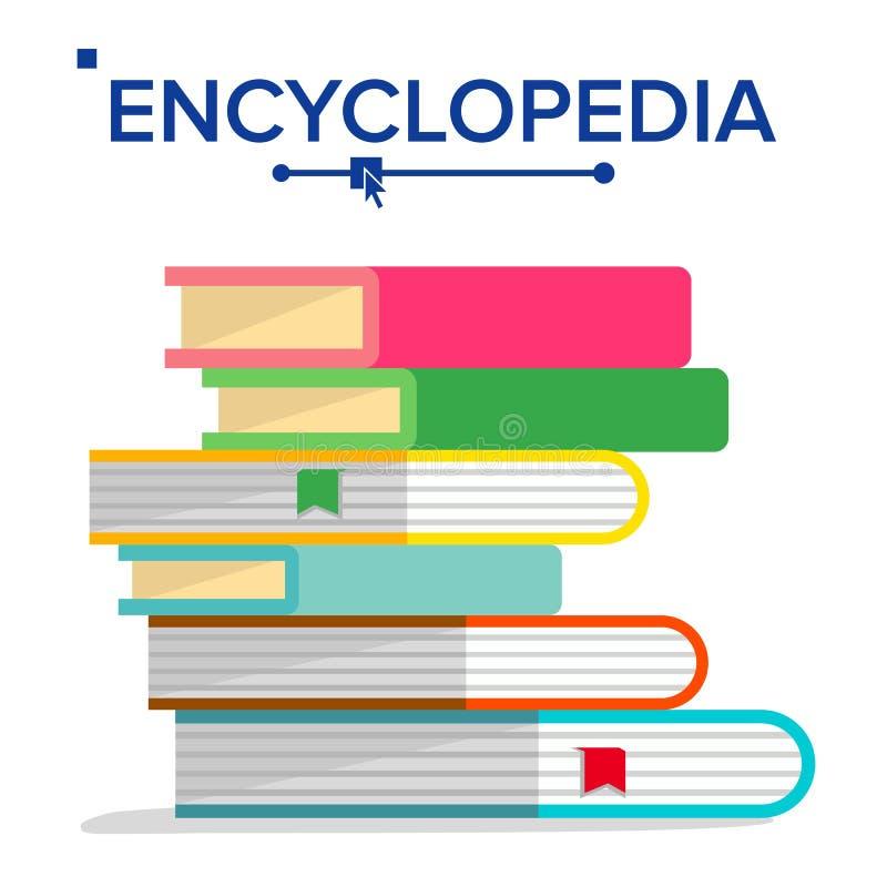 Enzyklopädien-Stapel-Vektor Buch-Stapel mit Bookmarks Wissenschaft, Lernkonzept Wörterbuch, Literatur-Lehrbuch-Ikone vektor abbildung