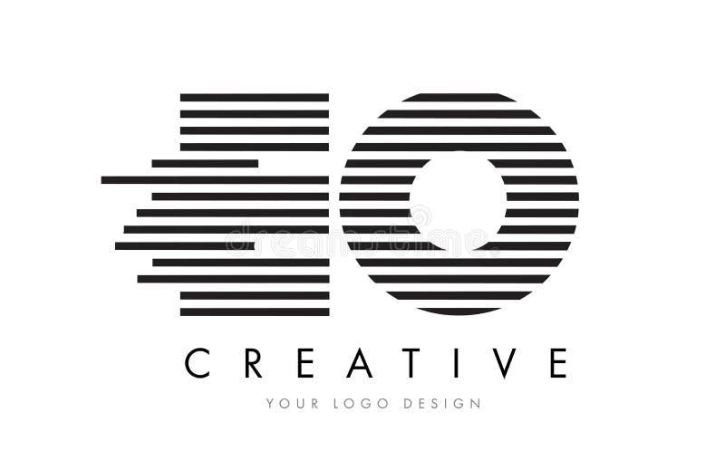 EO E O Zebra Letter Logo Design with Black and White Stripes vector illustration