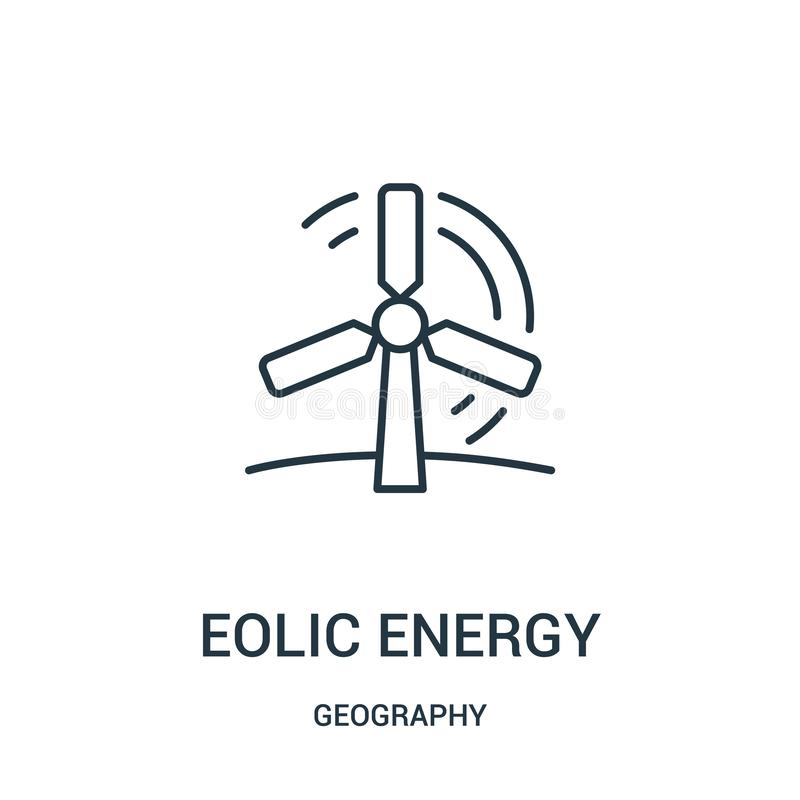 eolic energetyczny ikona wektor od geografii kolekcji Cienka kreskowa eolic energetyczna kontur ikony wektoru ilustracja ilustracji