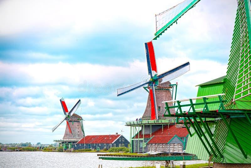 Eolische Molens van Zaandam, Nederland royalty-vrije stock foto