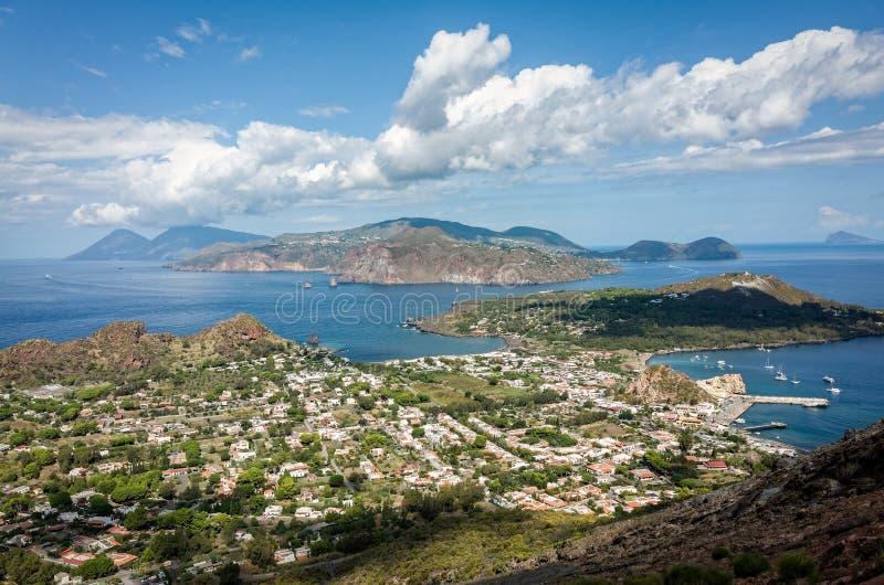 Eoliska öar Sicilien Italien arkivbilder