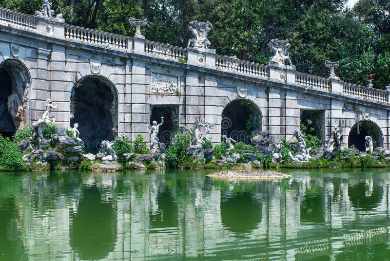 Eolo喷泉王宫的在卡塞尔塔,意大利从事园艺 库存照片