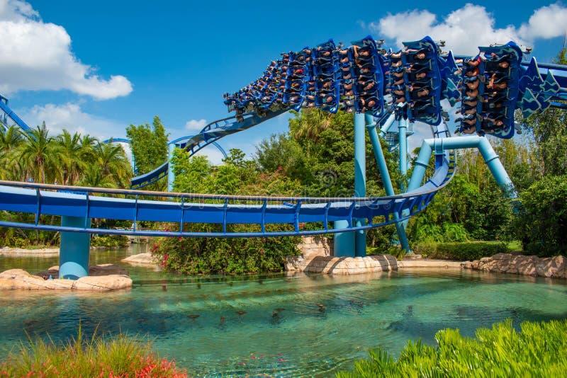 Eople som har den roliga MantaRay rollercoasteren på Seaworld 2 arkivfoto