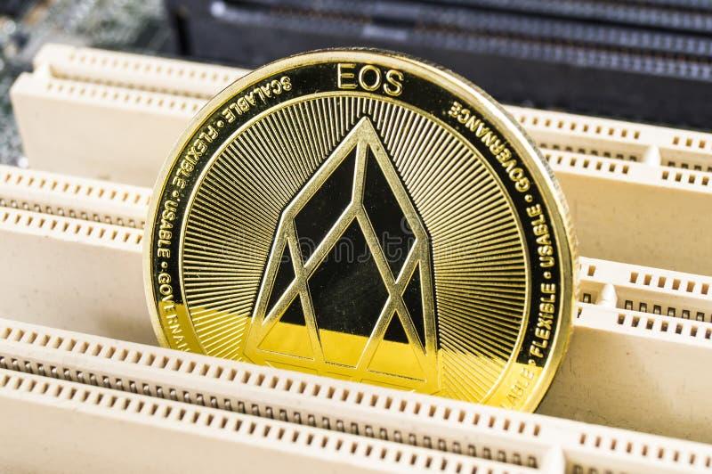 EOS是交换一个现代方式,并且这隐藏货币是方便付款方式在财政和网市场上 库存照片