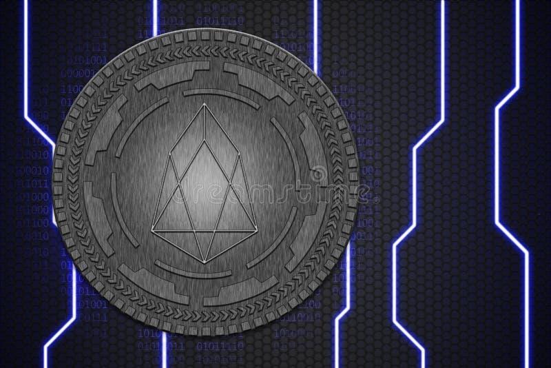 EOS硬币的概念 Cryptocurrency blockchain平台,数字金钱 免版税库存图片