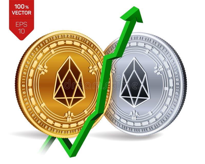 EOS ανάπτυξη πράσινος επάνω βελών Η εκτίμηση δεικτών EOS ανεβαίνει στην αγορά ανταλλαγής Crypto νόμισμα τρισδιάστατο isometric φυ ελεύθερη απεικόνιση δικαιώματος