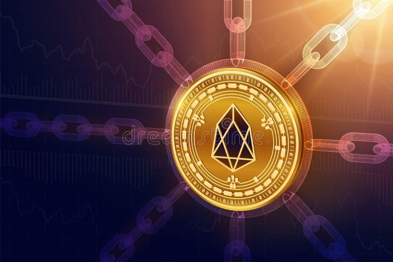 EOS Секретная валюта Цепь блока равновеликая монетка EOS медицинского осмотра 3D с цепью wireframe Концепция Blockchain Editable  иллюстрация штока
