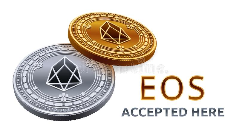 EOS. Accepted sign emblem. Crypto currency. Golden and silver coins with EOS symbol isolated on white background. 3D isometric Phy royalty free illustration
