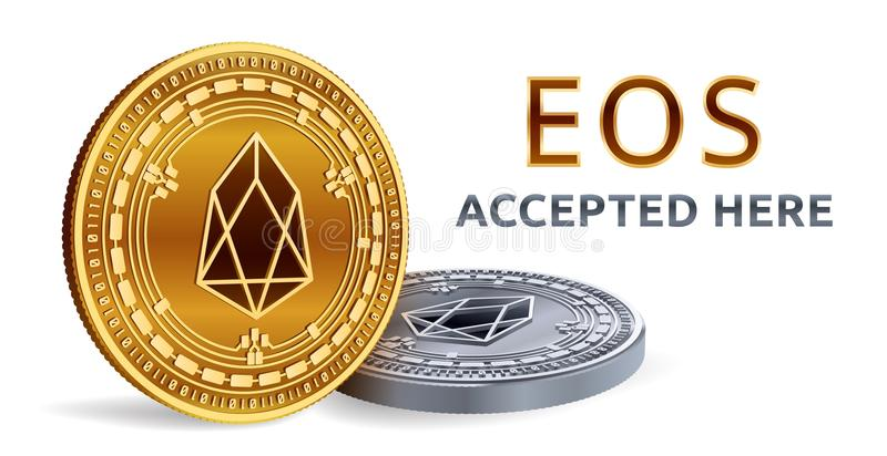 EOS. Accepted sign emblem. Crypto currency. Golden and silver coins with EOS symbol isolated on white background. 3D isometric Phy stock illustration