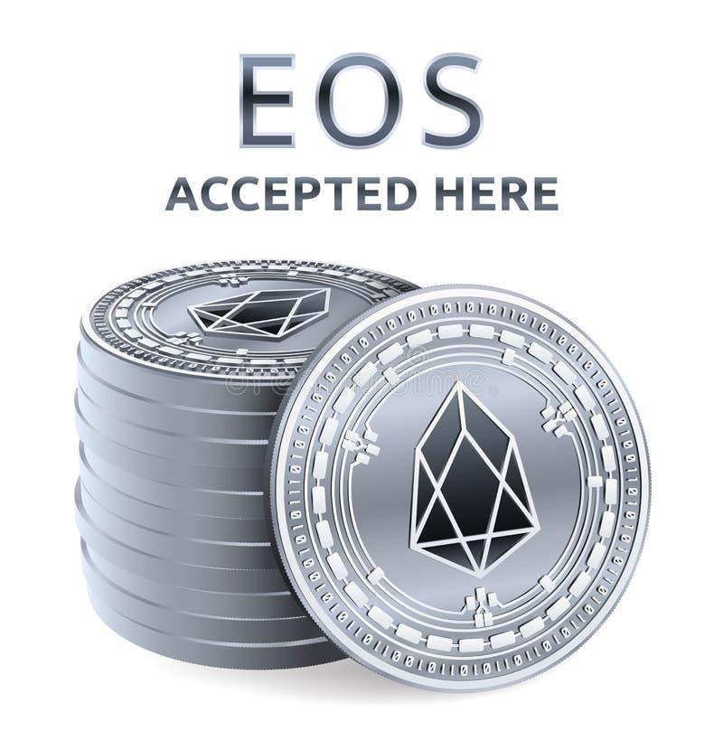 EOS Akceptujący szyldowy emblemat Crypto waluta Sterta srebne monety z EOS symbolem odizolowywającym na białym tle 3D isometric P ilustracja wektor