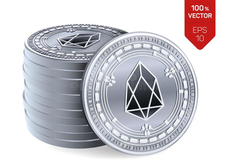 EOS. Crypto currency. 3D isometric Physical coins. Digital currency. Stack of silver coins with EOS symbol isolated on white backg stock illustration
