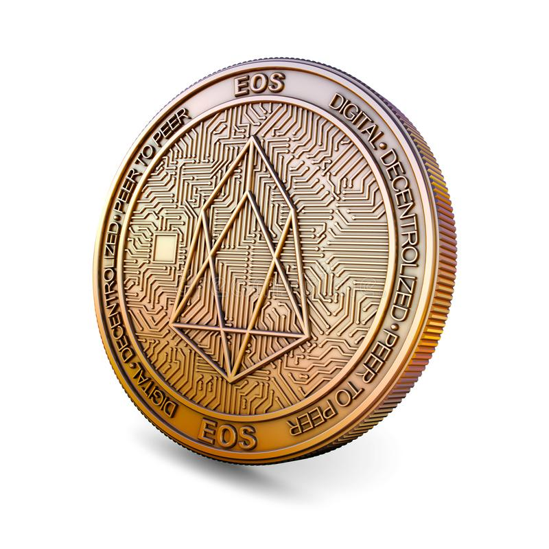 EOS - Cryptocurrency Coin. 3D rendering. EOS - Cryptocurrency Coin Isolated on White Background. 3D rendering royalty free illustration