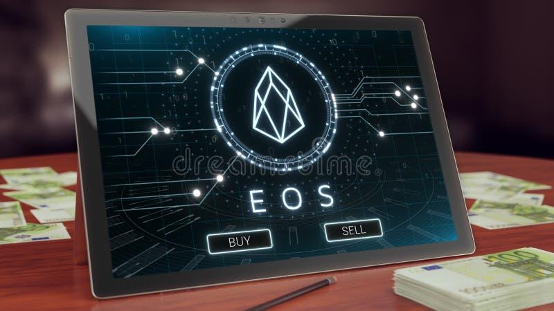 Eos cryptocurrency logo na komputer osobisty pastylce, 3D ilustracja royalty ilustracja