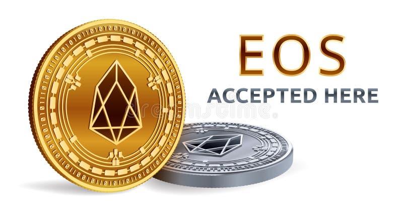 EOS Emblema aceitado do sinal Moeda cripto Moedas douradas e de prata com símbolo do EOS isoladas no fundo branco 3D Phy isométri ilustração stock